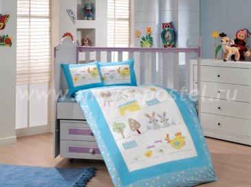 Голубое постельное белье с покрывалом «ZOO» детское, поплин в интернет-магазине Моя постель