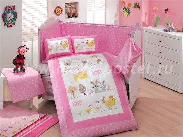 Розовое постельное белье с покрывалом «ZOO» детское, поплин в интернет-магазине Моя постель
