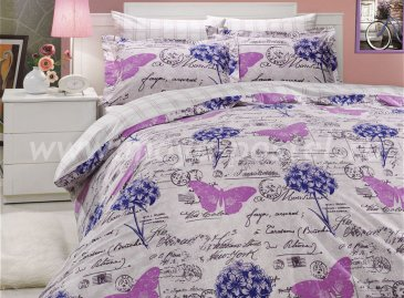 Лиловое постельное белье «ANCELICA» из поплина, семейное в интернет-магазине Моя постель