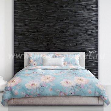 Голубое постельное белье «Peony blossom» (Цветение пиона), евро макси в интернет-магазине Моя постель