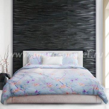 Голубое постельное белье «Urusi silk» (Шелк Уруси), евро в интернет-магазине Моя постель