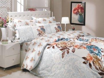 Постельное белье из ранфорса «DELICIA» с коричнево-синим принтом, двуспальное в интернет-магазине Моя постель