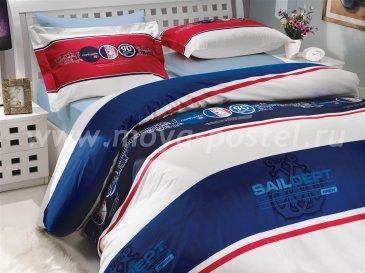 Семейный комплект постельного белья «ROTA», поплин, синий в интернет-магазине Моя постель