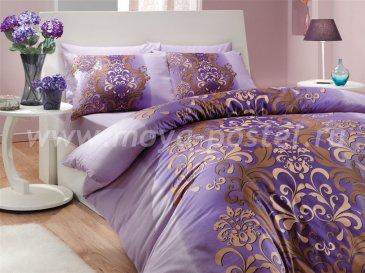 Семейное постельное белье с восточным узором «ALMEDA», ранфорс, фиолетовое в интернет-магазине Моя постель