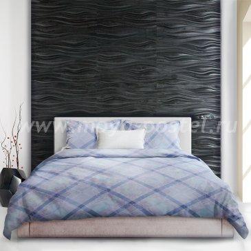 Голубое постельное белье «Shibori» (Сибори) в клетку, евро макси в интернет-магазине Моя постель