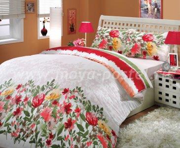 Двуспальное постельное белье «LILIAN» красного цвета с живописными цветочками, ранфорс в интернет-магазине Моя постель