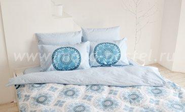 Голубое постельное белье из поплина «SILVANA», семейное в интернет-магазине Моя постель