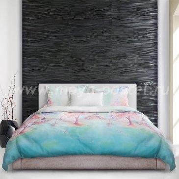 Голубое постельное белье «Suisaiga» (Акварель) с нежно-розовой сакурой, евро макси в интернет-магазине Моя постель