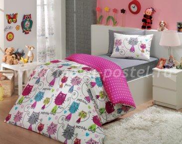 Постельное белье для подростков «MEOW» из поплина, фуксия, полутороспальное в интернет-магазине Моя постель
