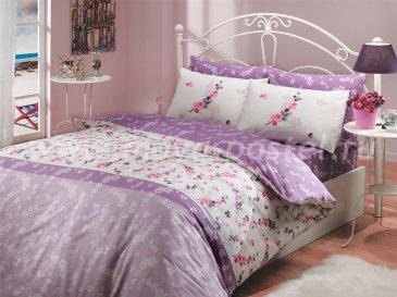 Двуспальное постельное белье «ILYA» из ранфорса, лиловое в интернет-магазине Моя постель