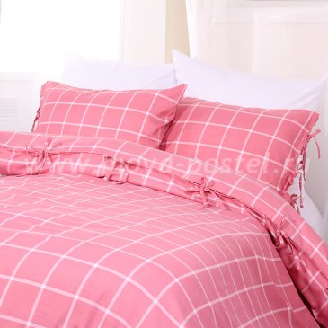 Постельное белье в клетку Aalborg без простыни, евро макси в интернет-магазине Моя постель