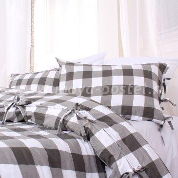 Серое постельное белье в клетку Kolding без простыни, полуторное в интернет-магазине Моя постель