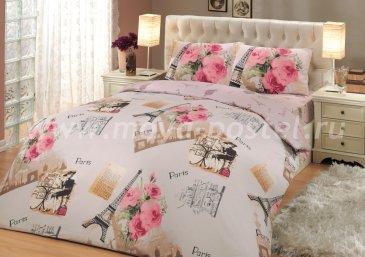 Розовое постельное белье из ранфорса «PARIS», полутороспальное в интернет-магазине Моя постель