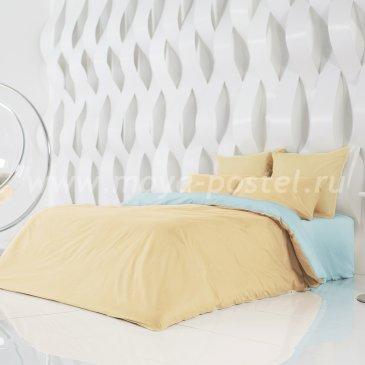 Постельное белье Perfection Цвет: Солнечный Абрикос + Небесно Голубой (семейное) в интернет-магазине Моя постель