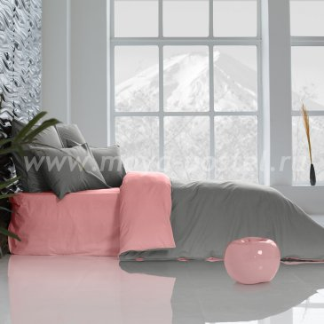 Постельное белье: Темно-Серый + Цветок Сакуры (семейное) в интернет-магазине Моя постель