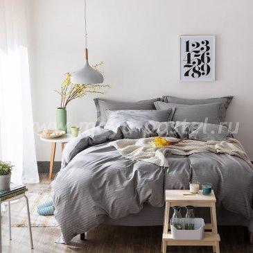 Двуспальное серое постельное белье на резинке CFR006, страйп-сатин (180*200*30) в интернет-магазине Моя постель