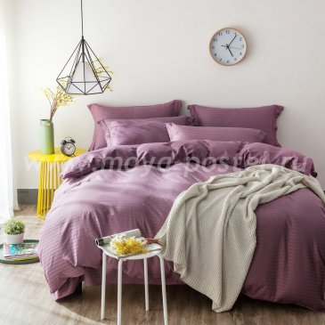 Двуспальное постельное белье с простыней на резинке CFR005, фиолетовое, страйп-сатин (180*200*30) в интернет-магазине Моя постель