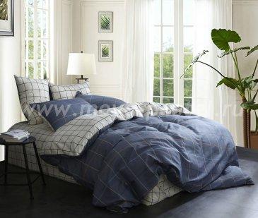 Полуторный комплект постельного белья из сатина в клетку C263 (50*70) в интернет-магазине Моя постель