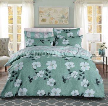 Полутороспальный комплект зеленого постельного белья из сатина с белыми цветами C266 (50*70) в интернет-магазине Моя постель