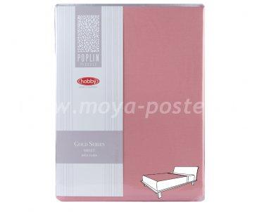 Простынь на резинке 180*200см, розовый, 100% Хлопок в интернет-магазине Моя постель