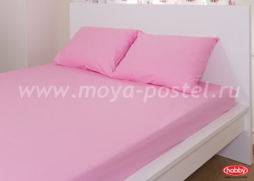 Набор из простыни на резинке (160x200) и наволочек (50x70*2), розовый, 100% Хлопок в интернет-магазине Моя постель