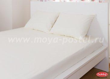 Набор из простыни на резинке (160x200) и наволочек (50x70*2), кремовый, 100% Хлопок в интернет-магазине Моя постель
