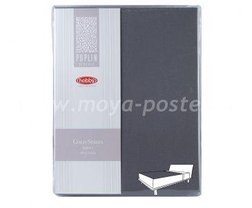 Простынь на резинке 100*200см, т.серый, 100% Хлопок в интернет-магазине Моя постель