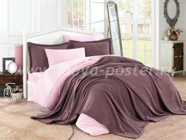 Розовое постельное белье с покрывалом и кружевом «NATURAL», поплин, евро в интернет-магазине Моя постель