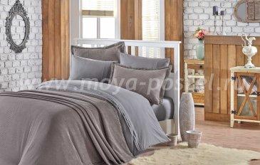 Полутороспальное постельное белье с покрывалом «NATURAL», поплин, серого цвета в интернет-магазине Моя постель