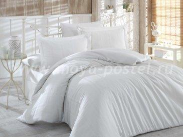Серое постельное белье «STRIPE», сатин-жаккард, полутороспальное в интернет-магазине Моя постель