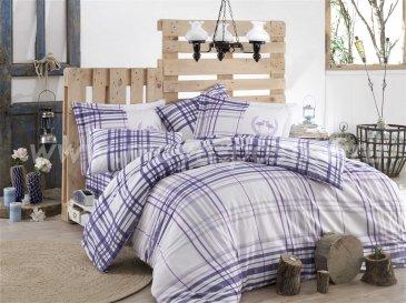 Семейный комплект постельного белья «FLAMINGO», сатин, фиолетовая клетка в интернет-магазине Моя постель