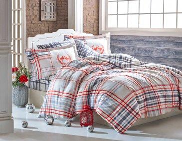 Семейный комплект постельного белья «FLAMINGO», сатин, красная клетка в интернет-магазине Моя постель