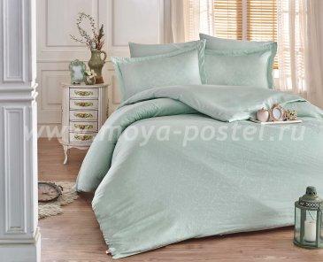 Евро комплект постельного белья «DAMASK», мятный, сатин-жаккард в интернет-магазине Моя постель