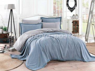 Синее постельное белье с покрывалом и кружевом «NATURAL», поплин, евро в интернет-магазине Моя постель
