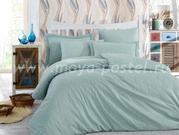 Мятное постельное белье «STRIPE», сатин-жаккард, полутороспальное в интернет-магазине Моя постель
