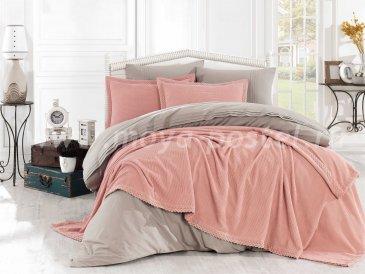 Персиковое постельное белье с покрывалом и кружевом «NATURAL», поплин, евро в интернет-магазине Моя постель