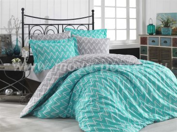 Бирюзовое постельное белье из поплина «NAZENDE» с зигзагами, семейное в интернет-магазине Моя постель