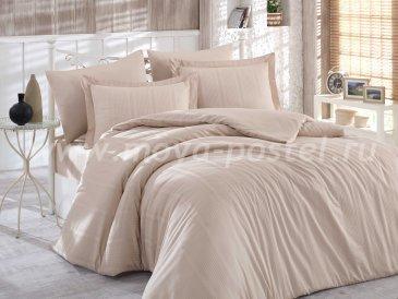 Бежевое постельное белье «STRIPE», сатин-жаккард, полутороспальное в интернет-магазине Моя постель