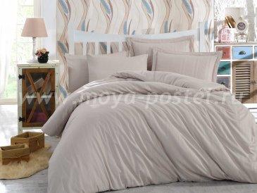 Кремовое постельное белье «STRIPE», сатин-жаккард, полутороспальное в интернет-магазине Моя постель