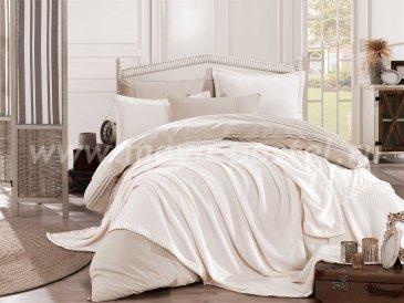 Кремовое постельное белье с покрывалом и кружевом «NATURAL», поплин, евро в интернет-магазине Моя постель