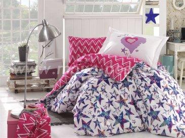 Постельное белье из поплина «CARMEN» со звездным принтом, полутороспальное, цвет фуксия в интернет-магазине Моя постель