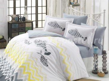 Постельное белье евро размера «OCEAN» из поплина, серое в интернет-магазине Моя постель
