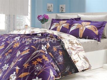 Фиолетовое постельное белье из поплина с изображением лилий «CLARINDA», полутороспальное в интернет-магазине Моя постель