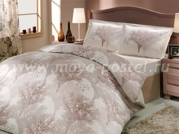 Постельное белье из поплина «JUILLET» кремового цвета с силуэтами деревьев, полутороспальное в интернет-магазине Моя постель