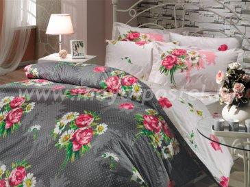 Постельное белье из поплина «CALVINA», серое с розовыми цветами, евро в интернет-магазине Моя постель