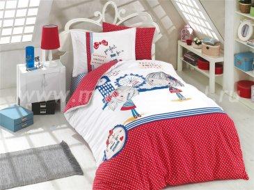 Красное постельное белье «SMILE», полутороспальное, поплин в интернет-магазине Моя постель