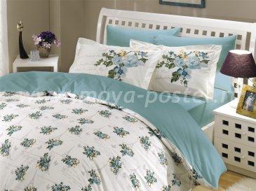 Семейный комплект бирюзового постельного белья «PARIS SPRING», поплин в интернет-магазине Моя постель