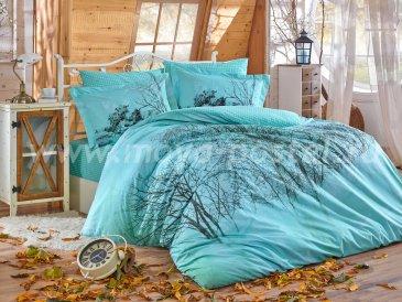 Бирюзовое постельное белье «MARGHERITA» из поплина с силуэтом леса, евро размер в интернет-магазине Моя постель