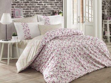 Белое постельное белье с цветочным узором «LUISA» из поплина, полутороспальное в интернет-магазине Моя постель