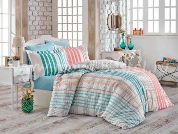 Бирюзовое постельное белье «STRIPE», поплин, полуторное в интернет-магазине Моя постель